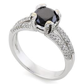 Помолвочное кольцо с 1 черным бриллиантом 1,50 ct и 130 белые бриллиантами 0,35 ct 4/4 белое золото 585°, артикул R-НП 028