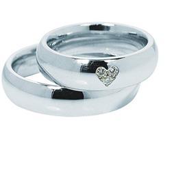 Классические обручальные кольца парные из белого золота, артикул R-ТС 0371
