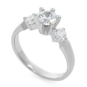 Кольцо с бриллиантами 0,65 ct (центр 0,45 ct 4/5, боковые 0,20 ct 4/5) белое золото 585°, арт. R-КК 046045