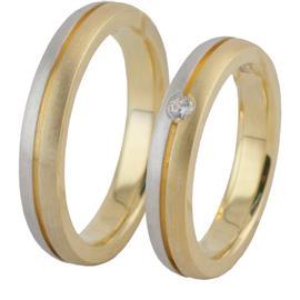 Обручальные кольца парные с бриллиантами из золота 585 пробы, артикул R-ТС 1844
