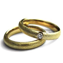 Обручальные кольца парные с бриллиантом из золота 585 пробы, артикул R-ТС 11