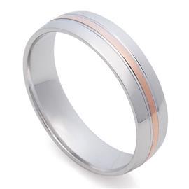 Классическое обручальное кольцо из белого золота с полоской в центре из розового золота 585 пробы, артикул R-St025e