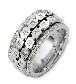 Эксклюзивное крутящееся обручальное кольцо с бриллиантами из золота 585 пробы, артикул R-А2524