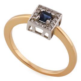 Кольцо из розового и белого золота 585 пробы с 16 бриллиантами 0,13 карат и 1 сапфиром 0,22 карат