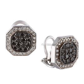 Серьги с 48 бриллиантами 0,24 ct 4/5, 28 бриллиантов чёрных 0,56 ct  из белого золота 585°, артикул R-00700022640