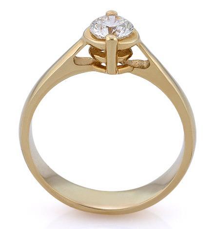 Помолвочное кольцо из желтого золота 585 пробы с сертифицированным бриллиантом 0,5 карата