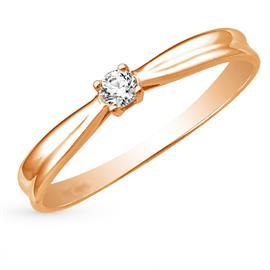 Помолвочное кольцо с 1 бриллиантом 0,12 ct 4/6  из розового золота 585°, артикул R-GGR37-3