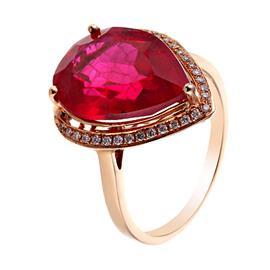 Кольцо с 29 бриллиантами 0,11 ct 4/6, 1 рубин 9,62 ct  из розового золота 585°, артикул R-33500042041