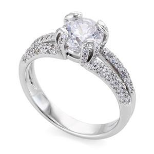 Помолвочное кольцо 131 бриллиантом 1,35 ct (центр1 бриллиант 1,00 ct 5/3 боковые 130 бриллиантов 0,35 ct 5/6) белое золото 585°, арт. R-НП 028-Б