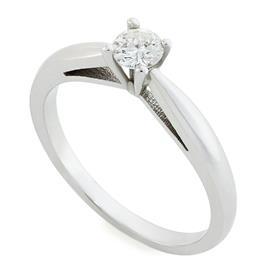 Помолвочное кольцо с 1 бриллиантом 0,21 ct 3/5 белое золото 585°, артикул R-R0002W