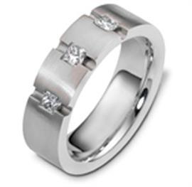 Обручальное кольцо с бриллиантами из белого золота 585 пробы, артикул R-2489