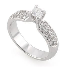 Помолвочное кольцо с 33 бриллиантами 0,73 ct (центр 1 бриллиант 0,25 ct 5/5, боковые 32 бриллианта 0,48 ct 4/5) белое золото 585°, артикул R-L1929-2 0.25