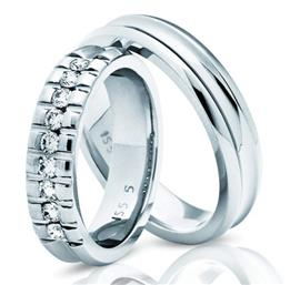 Обручальные кольца с бриллиантами из белого золота, артикул R-ТС 3322