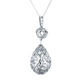 Цепь с подвеской с 9 чёрными бриллиантами 0,06 ct из белого золота 585°, артикул R-02600130025