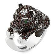Кольцо Пантера серебро 925° фианиты, артикул R-3533(1)