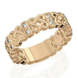 Обручальное кольцо дизайнерское из розового золота с бриллиантами, артикул R-W45483-2