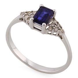 Кольцо с  1 сапфиром 0,73 ct 2/3 и 12 бриллиантами 0,14ct 4/5 из белого золота 585°, артикул R-XR13914