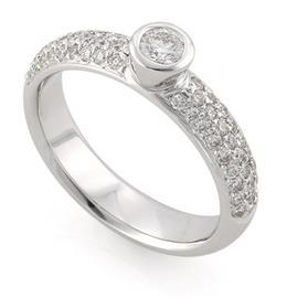Помолвочное кольцо с 55 бриллиантами 0,74 ct (центр 1 бриллиант 0,20 ct 4/5, 54 бриллианта боковые 0,54 ct 4/5) белое золото 585°, артикул R-3614-2