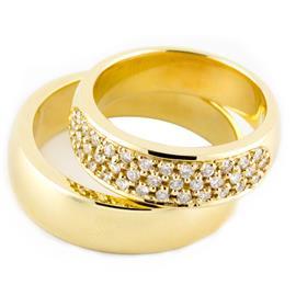 """Обручальные кольца парные с бриллиантами из желтого  золота серия """"Twin set"""", артикул R-ТС 3298-1"""