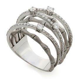 Кольцо с 80 бриллиантами 0,80 ct 3/5 белое золото 750°, артикул R-СА290513-2