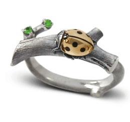 Кольцо Божья Коровка серебро 925°, артикул R-131206