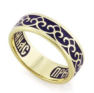 Венчальное кольцо с молитвой к Богородице, арт. R-КЗЭ0402
