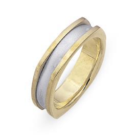 Обручальное кольцо из двухцветного золота 585 пробы, артикул R-СЕ027