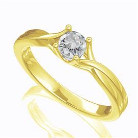 Помолвочное кольцо с 1 бриллиантом 0,30 ct 6/5  из желтого золота 585°, артикул R-D42832-1