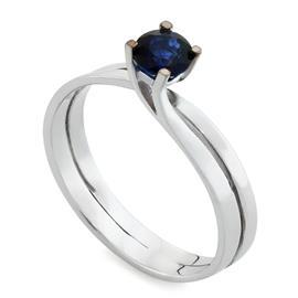 Кольцо с 1 сапфиром 0,56 ct 3/3 из белого золота 750°, артикул R-AYZ3387C-2