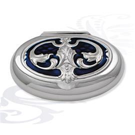 Серебряная табакерка синяя, артикул R-0130406A