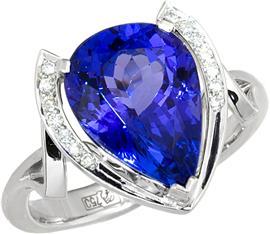 Кольцо из белого золота 750 пробы с 8 бриллиантами 0,14 карат и 1 кашмирским сапфиром 2,8 карат