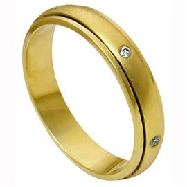 Обручальное кольцо крутящееся из желтого золота 585 пробы с бриллиантами, артикул R-1256