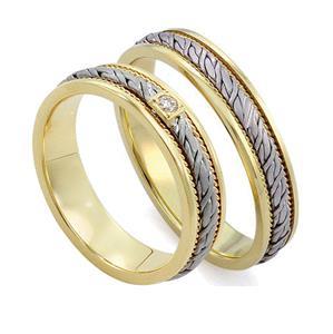Обручальные кольца парные с бриллиантами из золота 585 пробы, арт. R-ТС L1912-1Б1