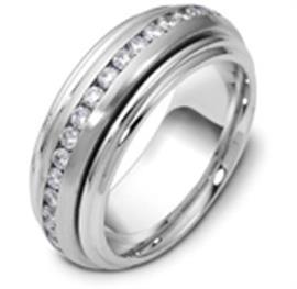 """Обручальное кольцо с бриллиантами крутящееся из белого золота 585 пробы серия """"Diamond"""", артикул R-1216"""
