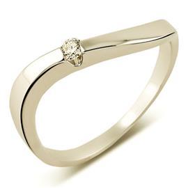 Кольцо из белого золота 585 пробы с 1 бриллиантом 0,06 карат, артикул R-XR09804