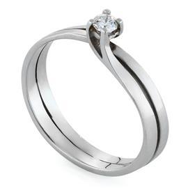 Кольцо с 1 бриллиантом 0,1 ct 4/4 из белого золота 750°, артикул R-AYZ3389-2