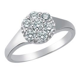 Кольцо с 1 бриллиантом 0,09 ct 3/5 и 6 бриллиантов 0,46 ct 3/5 из белого золота 750°, артикул R-DRN12494-01