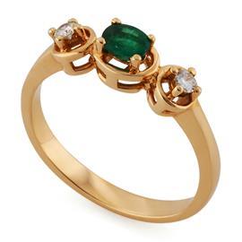 Кольцо из розового золота 585 пробы с 2 бриллиантами 0,08 карат и 1 изумрудом 0,21 карат