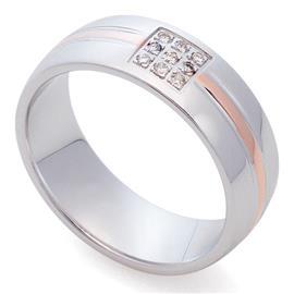 Классическое обручальное кольцо из белого золота с полоской в центре из розового золота 585 пробы с 9 бриллиантами 0,05 карат, артикул R-St025b