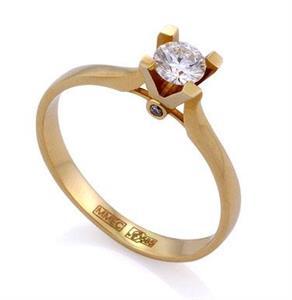 Кольцо с бриллиантами 0,32 ct (центр 0,30 ct 4/5, боковые 0,02 ct 4/5) желтое золото 585°, арт. R-КК 017030
