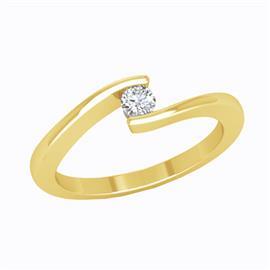 Кольцо с 1 бриллиантом 0,11 ct 4/6  из желтого золота 585°, артикул R-D44590-1
