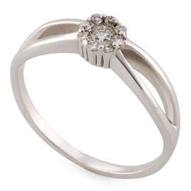 Кольцо из белого золота 585 пробы с 1 бриллиантом 0,08 карат и 8 бриллиантами 0,08 карат