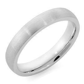 Обручальное кольцо классическое  с матовой поверхностью из белого золота, ширина 4 мм, комфортная посадка, артикул R-W345W-m