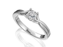 Помолвочное кольцо с 1 бриллиантом 0,33 ct 4/8  из белого золота 585°, артикул R-D42832-2