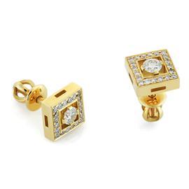 Серьги-пусеты с 42 бриллиантами 0,50 ct (центр 0,26 ct 4/3 по бокам 0,24 ct 4/3) из желтого золота 750°, артикул R-О612-1