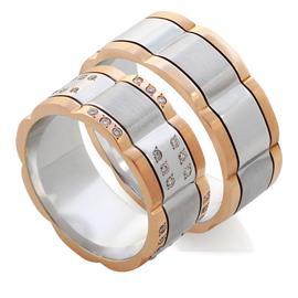 Обручальные кольца парные с бриллиантами из белого и жёлтого золота из золота 585 пробы, артикул R-Е1033