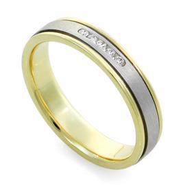 Обручальное кольцо  с бриллиантами из белого и желтого золота 585 пробы, артикул R-F 1068