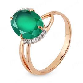 Кольцо с агатом из розового золота 585°, артикул R-012-0266-Аг