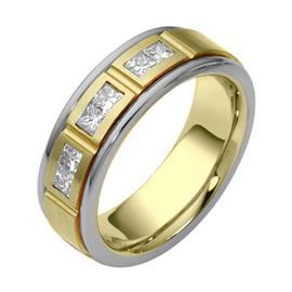 Обручальное кольцо с бриллиантами из золота 585 пробы, артикул R-2099-1