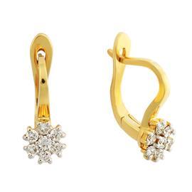 Серьги с 14 бриллиантами 0,34 ct 3/5 из желтого золота 750°, артикул R-DEA07314-002